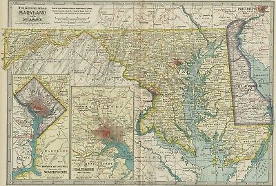 MARYLAND & DELAWARE  Map: Authentic 1897 (Dated) Towns, Counties, Topography, RR