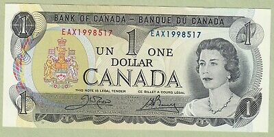 1973 Bank of Canada One Dollar Note - Crow/Bouey - EAX1998517 - UNC