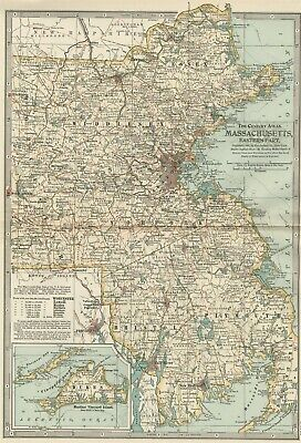 Massachusetts EASTERN Area, Around Boston Map: Authentic 1897 (Dated) Detailed