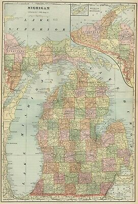 MICHIGAN Map: Authentic 1899; Counties, Cities, Railroads, Topography