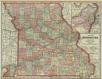 MISSOURI Map: Authentic 1899; Counties, Cities, Railroads, Topography