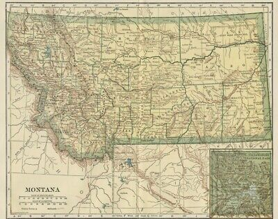 MONTANA Map: 100 Years Old showing Counties, Towns, Topography, Railroads