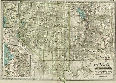 NEVADA & UTAH Map: Authentic 1897 (Dated) Towns, Counties, Railroads, Topography