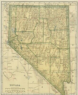 NEVADA Map: 100 Years Old showing Counties, Towns, Topography, Railroads
