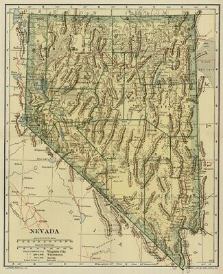 NEVADA Map: Authentic 1907 (dated) with Counties, Towns, Topography, Railroads