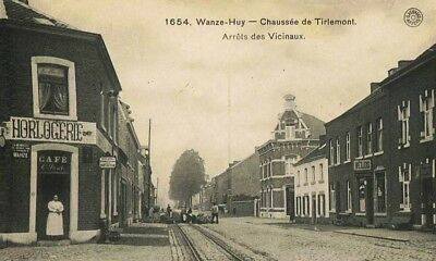 Reproduction photo d'une carte postale de Wanze-Huy : arrêt des vicinaux