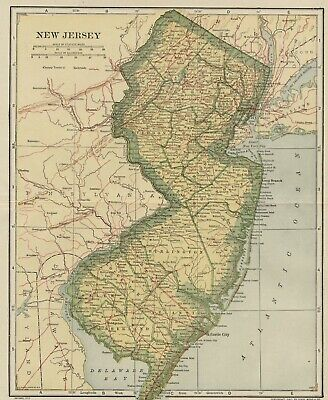 NEW JERSEY Map: 100 Years Old showing Counties, Towns, Topography, Railroads
