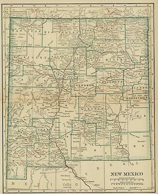 NEW MEXICO Map: 100 Years Old showing Counties, Towns, Topography, Railroads