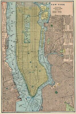 New York City Street Map: Authentic 1887; with Stations, Landmarks & more