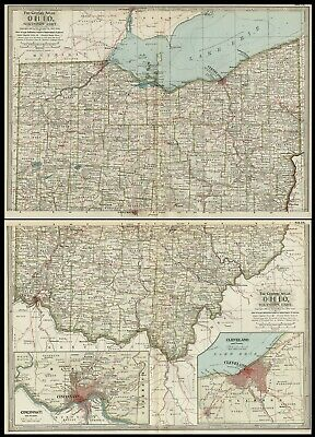 Ohio TWO Maps: Authentic 1897 (Dated) Towns, Counties, Railroads, Topography