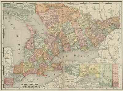 Ontario Map: Authentic 1895 (Dated) showing Towns, Cities, Counties, Topog, RRs
