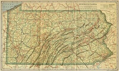PENNSYLVANIA Map: Authentic 1907 (dated) with Counties, Towns, Topography, RRs