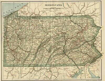 PENNSYLVANIA Map: Dated 1891 with Towns, Counties, Railroads & 1890 Populations