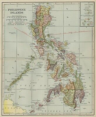 Philippine Islands / Luzon Map: Authentic 1907 (Dated) Cities, Ports, Topo, RRs