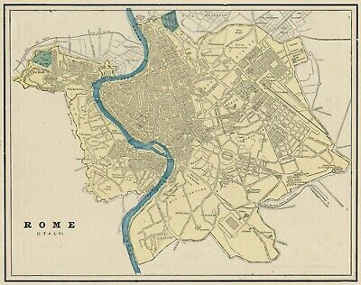 Rome, Italy Street Map: Authentic 1887 with Stations & Landmarks