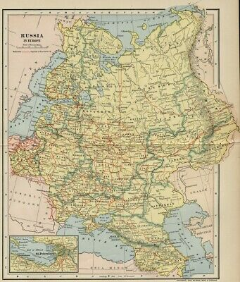 Russia in Europe Map: Authentic 1903 (Dated) Towns, Cities, Topography, RRs ++