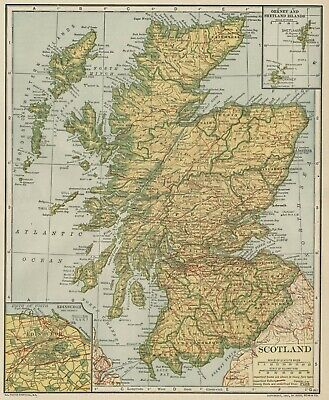 Scotland Map; Authentic 1907 (Dated) Counties, Cities, Towns, Topography, RRs