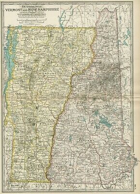 VERMONT & NEW HAMPSHIRE Map: Dated 1897 / Towns, Counties, Railroads, Topography