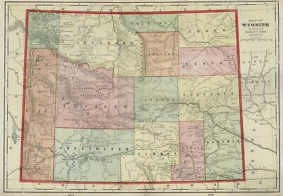 WYOMING Map: Authentic 1899; Counties, Cities, Towns, RRs, Topography