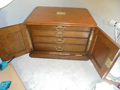 Quality Large Oak Collectors Chest , Medals , Coins