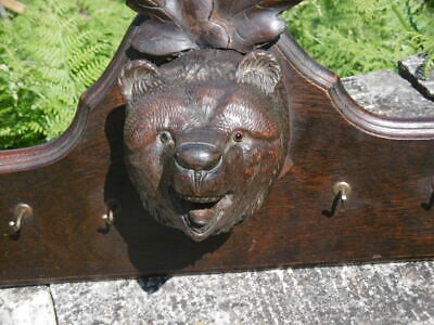 MAGNIFICENT 19thc BLACK FOREST OAK CARVED PEDIMENT WITH BEAR HEAD C.1870