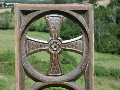 SUPERB 19thc GOTHIC OAK CARVED CHURCH PANEL WITH CELTIC CROSS C.1850