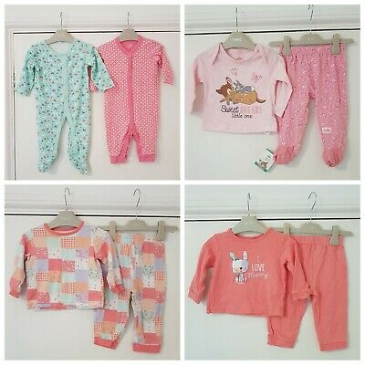 Baby Girls 9-12 Months Sleepwear Bundle 3 x Pyjamas; 1 is BNWT & 2 x Sleepsuits