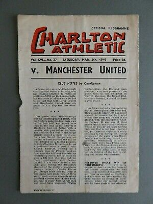 1948-49 Charlton Athletic v Manchester United Programme