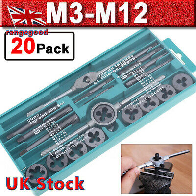 20Pcs Metric Tap and Die Set Alloy Steel  with Split Dies Wrench & Case M3 - M12