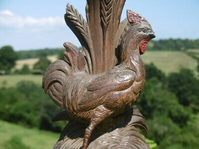 SUPERB 19thc BLACK FOREST OAK COCKEREL CARVING WITH VASE  C.1870