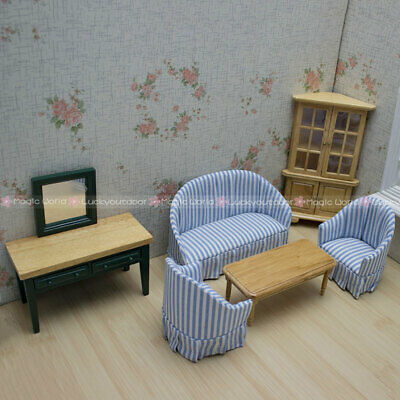Living room Furniture Wooden Corner Cabinet Table Sofa Dollhouse Miniatures 1:12