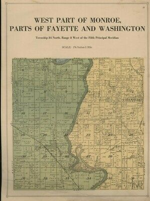 Parts of Monroe & Fayette Townships Plat Map Linn County Iowa 1921 (Land Owners)