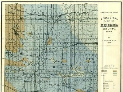 1895 KEOKUK County Iowa Map w/RRs, Towns, Cities, Primary Roads: Detailed