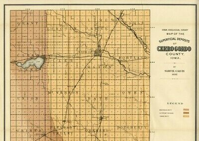 CERRO GORDO County Iowa Map DATE 1897 with RRs, Towns, Cities & Primary Roads