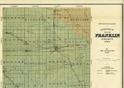 FRANKLIN County Iowa Map DATED 1906 w/ RRs, Towns, Cities, Primary Roads: Detail