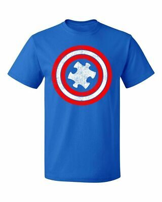 Captain America Autism Red and Blue Hero Shield Awareness Men's T-shirt XL