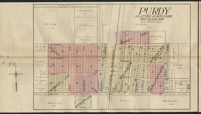 Purdy Missouri Map (Barry County) Authentic 1909. Streets, School, RR Depot ++