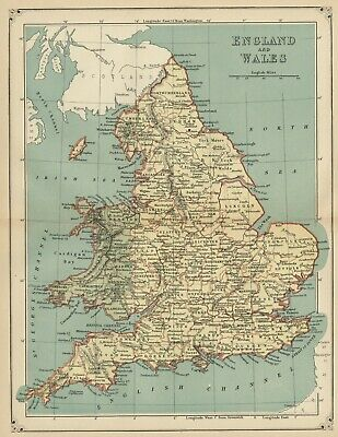 England & Wales Map: Authentic 1883; Counties, Ports, Cities, Rivers, Topography