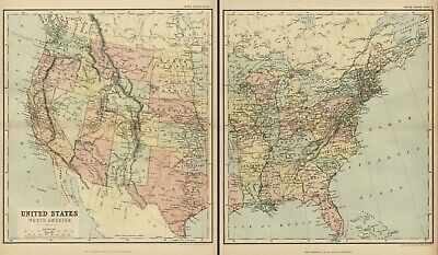 United States Map on 2 Sheets: Authentic 1897; showing states, Cities, Topo, RRs