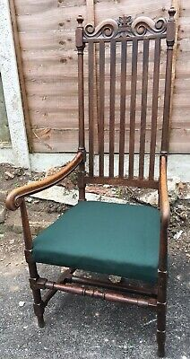 Antique Victorian Arts And Crafts Oak Arm Chair