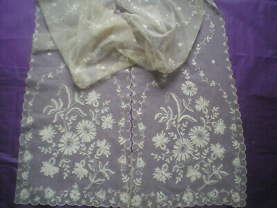 "Lovely Antique/Vintage Tambour Lace Stole/Wrap 90"" x 12"""