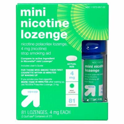 Up and Up mini NICOTINE LOZENGE-4 Mg 81 LOZENGES MINT FLAVOR EXP 2/20