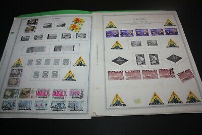 MALAYSIA LOT of 250 +  Stamps on Miscellaneous Album Pages Incl Duplication