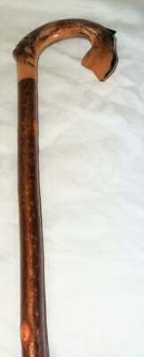 Vintage Carved Leaping Trout Rams Horn Shepherds Crook Walking Stick,Collectible