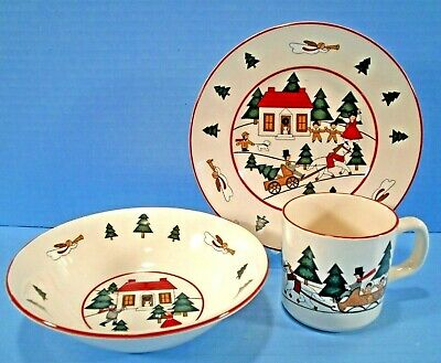 Masons Ironstone Christmas Village Bowl Plate Cup Set Soup and Salad Lunch Set