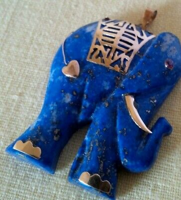 Vintage Chinese Lapis Lazuli Hand Carved Elephant 14K Gold Frog Accent Pendant
