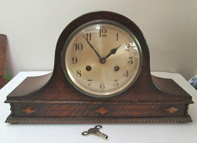 Vintage Oak Cased Chiming Napoleon Mantel Clock & Key