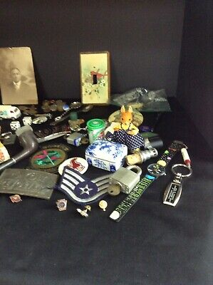 Vtg Junk Drawer Lot Advertising Toys Keys Military Jewelry Watches, Tobacco