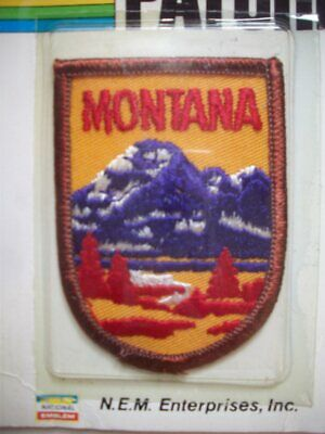 Vintage embroidered Montana sew on travel souvenir patch mountains