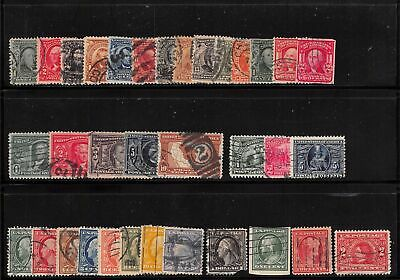 Lot of 34 U.S. Early Used Stamps Scott Range # 300 - 370 #139178 X